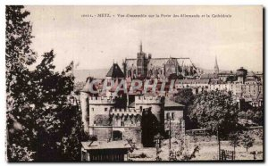 Old Postcard View of Metz & # 39ensemble on the door of the Germans and the C...