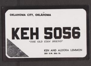 CB QSL Card - Old Coin Hound - Ken & Aldora Lemmon Oklahoma City, Oklahoma