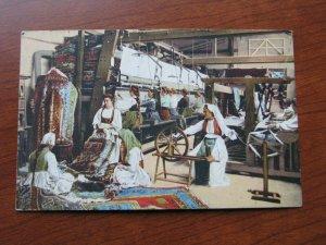 Bosnia Herzegovina Postcard 1913 Postmark Stamps Rug Factory Loom Spinning Wheel