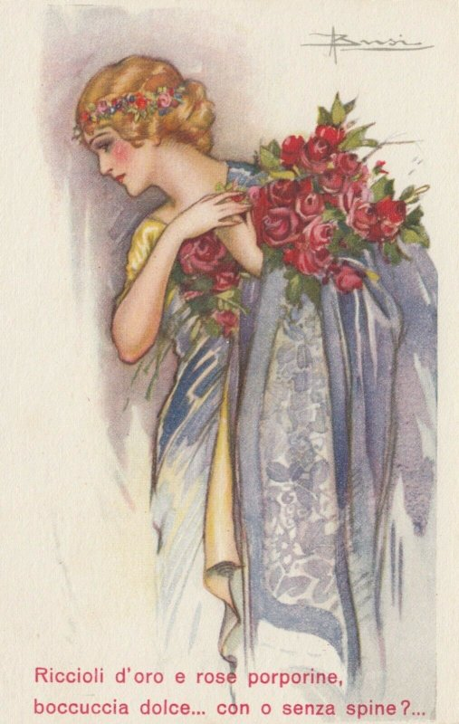 ART DECO ; BUSI ; Woman with Roses at shoulder and in hair, 1910-30s