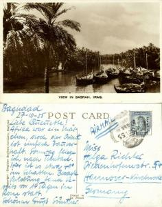iraq, BASRAH BASRA, View with Saling Boats (1955) RPPC Postcard