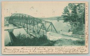 East Northfield Massachusetts~Schell Memorial Truss Bridge~1908 B&W Postcard