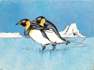 Skating Penguins by Silvey Jex postcard