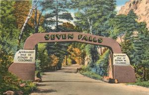 Colorado Springs Colorado~Seven Falls Entrance Arch~1940s Linen Postcard