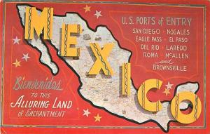 Bienvendios To Land Mexico Us Ports Of Entry Map Card Hippostcard - Us-ports-of-entry-map