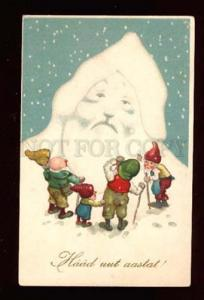 015543 Elf GNOME with big Snow Head of SANTA CLAUS vintage PC