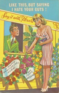 At the Florist. Like this, but.. Humorous Eglish PC 1950s