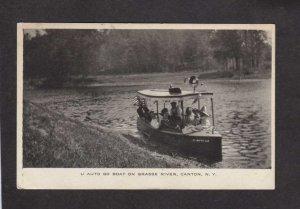 NY U Auto Boat Grasse River Canton New York Postcard 1911