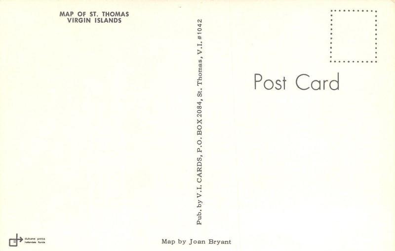 st thomas virgin islandsmap postcardcaribbean seadancersflags1960s