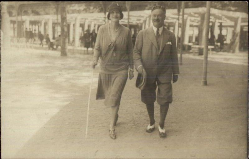 Vichy France Man & Woman Walk on Beach Vintage Fashion Real Photo Postcard