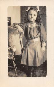 F37/ Interesting Real Photo RPPC Postcard 1912 Pretty Girl Taxidermy Fox Hide
