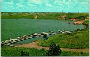 Pick City, North Dakota Postcard Boats and Dock West Side Garrison Reservoir