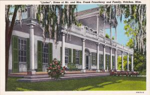 NATCHEZ, Mississippi, 1900-1910's; Linden, Home Of Mr. And Mrs. Frank Fauntle...