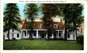 Postcard Briers Jefferson Davis Married House Home Natchez Mississippi Vintage