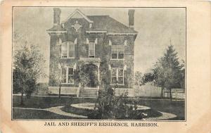 Harrison Michigan~Jail & Sheriff's Residence~1909 B&W Postcard