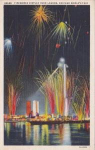 Chicago World's Fair Fireworks Display Over Lagoon Curteich