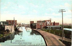 Postcard NY Syracuse Loading Salt on Oswego Canal - UDB - 1906 A3