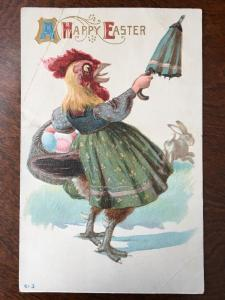 1911 Happy Easter - Chicken Hen In Dress W/ Egg Basket Chasing Off Rabbit Z1