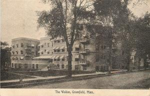 Greenfield Massachusetts~The Weldon Apartments~Awnings~1909 Postcard