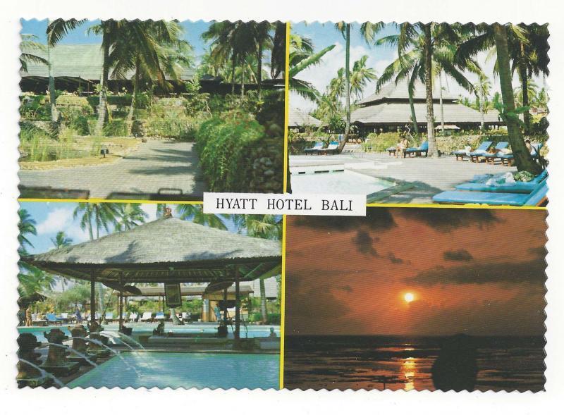 Bali Indonesia Hyatt Hotel Multiview Swimming Pool Vtg Postcard 4X6
