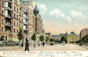 sweden, GÖTEBORG GOTHENBURG, Parti fran Linnégatan, Tram (1899)