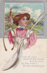 Pretty Woman wearing white berret, Country Scene, Wish bone, Silver spoon, Po...