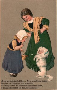 ?Vintage Postcard 1909 Missy Teaching Doggie Tricks Sit Up Straight Now Artwork