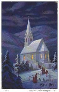 A Happy New Year - Church Winter Scene - 00-10s