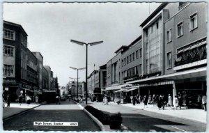 RPPC  EXETER, DEVON England  ~ HIGH STREET Scene  1962 UK Postcard