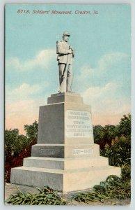 Creston IA~Civil War Soldiers Monument~Women's Relief Corps~TJ Potter Post~1913