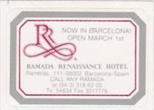 SPAIN BARCELONA RAMADA RENAISSANCE HOTEL VINTAGE LUGGAGE LABEL