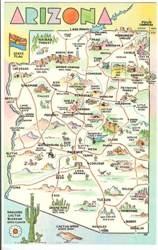 Arizona Map Grand Canyon State Unused Postcard Hippostcard