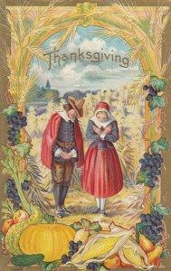 THANKSGIVING , 1900-10s; Pilgrims giving Thanks in the fields