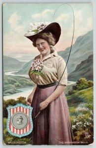 TUCK State Belle~Washington Girl on Mountain Side~Flower Hat~State Seal~ c1910