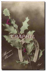 Old Postcard Fancy Happy new year (horseshoe)