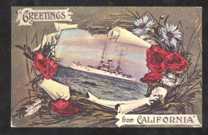 GREETINGS FROM CALIFORNIA US NAVY BATTLESHIP USS ALABAMA VINTAGE POSTCARD