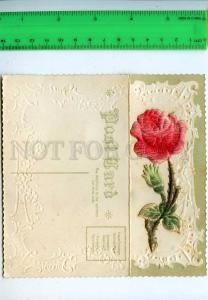 202172 ROSE BIRTHDAY GREETINGS Vintage embossed postcard
