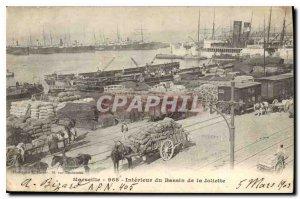 Old Postcard Marseille inside the basin of Joliette