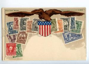 231974 USA Coat of arms STAMPS Vintage Zieher postcard