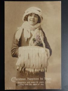 Christmas Happiness Be Yours Happiness and PeaceLADY IN FURS & MUFF c1918