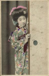 japan, Beautiful Native GEISHA Lady peeks around the Corner (1910s)