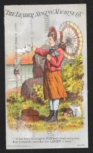 VICTORIAN TRADE CARD Leader Sewing Co Girl Parasol at Shore 'thoroughly tried'