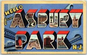 HELLO from ASBURY PARK N.J. Large Letter Postcard Curteich Linen 1947 Cancel