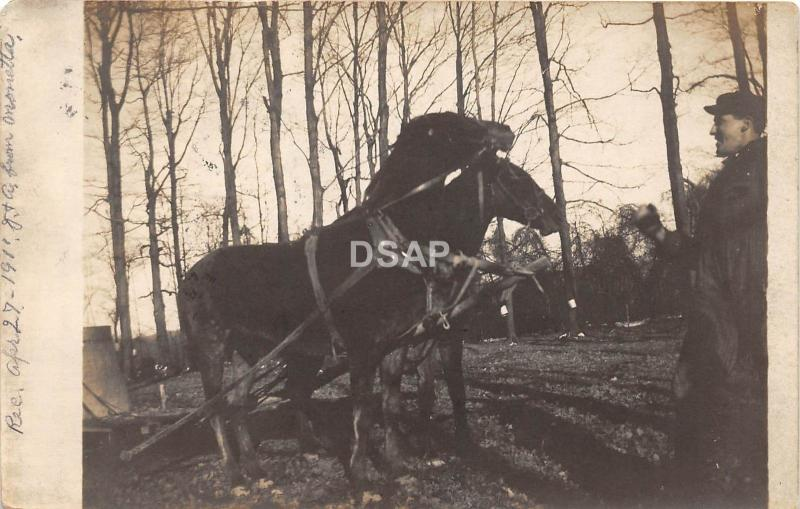 B19/ Willoughby Ohio Postcard RPPC 1911 Horses Farming Sled Maple Syrup Sap