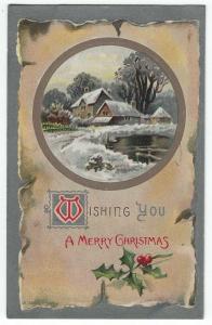 Vintage Christmas Greetings Postcard, A Snowy winter Scene