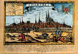 France Chartres Gravaure du XVII siecle