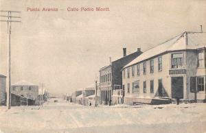 Punta Arenas Chile Calle Pedro Montt Street Scene Vintage Postcard JE229340