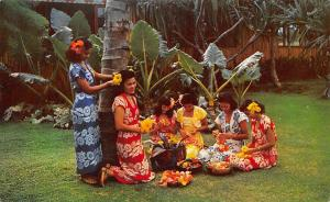 Fiji Suva Native Girls Stringing Leis Artful Occupation