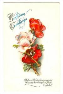 Birthday Greetings, Poem, Red and Pink flowers, 00-10s