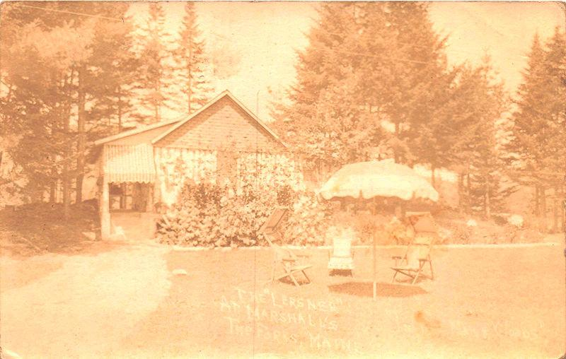 THE FORKS MAINE LERSNER AT MARSHALL'S CAMP CAMPGROUND REAL PHOTO POSTCARD 1936